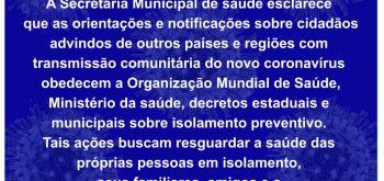NOTA DE ESCLARECIMENTO MEDIDAS DE ISOLAMENTO